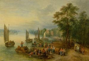 Uitgestrekt landschap met handelslui en boeren bij een aanlegplaats