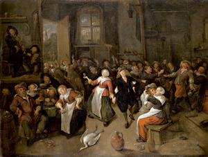 Dansend boerengezelschap in een herberg
