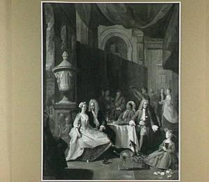 Elegant gezelschap in een paleis