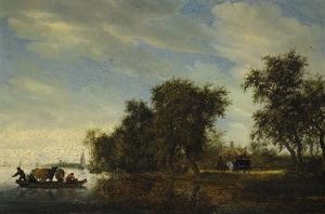Rivierlandschap met een veerboot met koeien