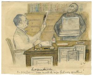 Portret van Willem Vogelsang (1875-1954) met mogelijk zijn assistent Piet Swillens (1890-1963)