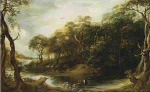 Landschap met de engel Raphael en Tobias die de vis open snijdt (Tobit 6, 1-5)