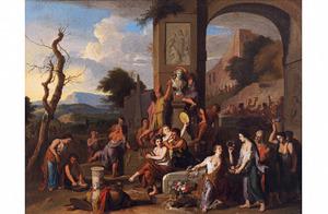 Groot offerfeest voor de god Bacchus in een landschap met runeuze tempel
