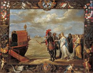 Antonio Moncada graaf van Adernò begeleidt de koningin naar haar schip