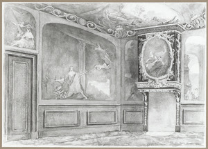 Interieur van het huis Kromme Nieuwegracht 80 te Utrecht: een zijkamer beschilderd met klassieke voorstellingen