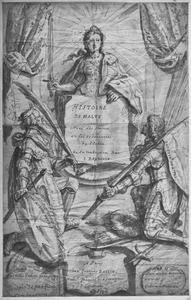 Tronende Orde van Malta, met twee knielende Maltezer ridders
