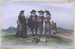 Allegorische voorstelling van een aantal kunsten, van links naar rechts: de cartografie (?), de poëzie in de gedaante van Jacob Cats (1577-1660), de schilderkunst in de gedaante van Adriaen van de Venne (....-1662) , de graveerkunst en de beeldhouwkunst