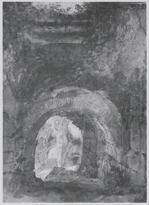 Doorzicht in de gewelven van het Colosseum (?), met twee tekenaars