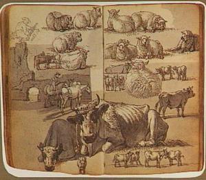 Studies van groepjes vee, figuren en een ruïne