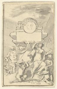 De graftombe van Plautus, met Thalia en een sater