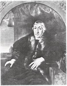 Portret van Willem Schijffert van Merode (....-1557), met op de achtergrond een doorkijk naar  de Valkhofburcht te Nijmegen