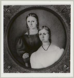 Portret van  Anna Maria Emelia de Jonge van Zwijnsbergen (1817-1884) en Sibylla Paulina Geertruida de Jonge van Zwijnsbergen (1825-1875)