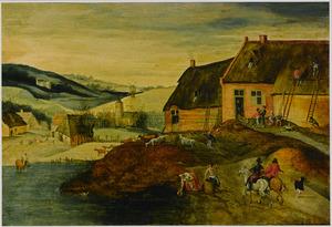 De Herfst: landschap met mannen die het dak van een boerderij repareren, op de voorgrond twee ruiters, vee en boeren bij een vijver, in de achtergrond een dorpje met een kerk en molen