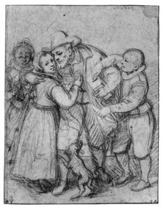 Oude man met armenbus en kinderen