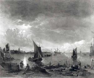 Riviergezicht met ruïne en vissers