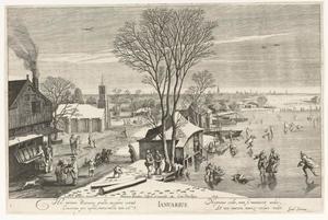 Januari; winterlandschap met figuren op het ijs en gezicht in een dorp