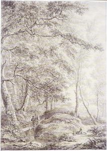 Boslandschap met twee figuren op en houten bruggetje en twee rustende figuren