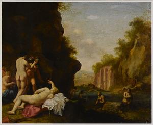 Italianiserend landschap met badende nimfen