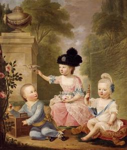 Groepsportret van prins Willem I van Oranje- Nassau (1772-1843), prinses Frederica Louise Wilhelmina van Oranje- Nassau (1770-1819) en prins Frederik van Oranje- Nassau (1774-1799)