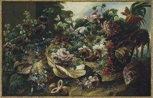 Stilleven van bloemen en grote schelpen