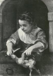 Meisje met hoen