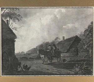 Echtpaar op paard en wagen op een boerenerf