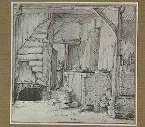 Interieur met waterput, in de achtergrond een vrouw met kind