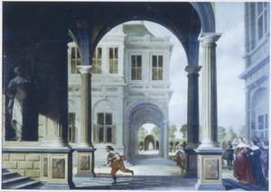 Voorportaal van een paleis, met een rennende bode