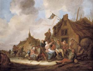 Dansende en drinkende boeren bij een herberg