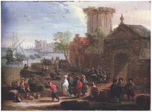 Havenplaats met oosterlingen en handelaars