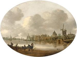 Rivierlandschap met een stadje aan het water en vissers op de voorgrond