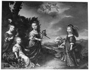 Portret van vier kinderen van Pieter Harinxma Thoe Slooten (?-1669)