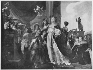 Theagenes en de priesteres Chariklea worden verliefd op elkaar bij het ontsteken van het offer aan Apollo te Delphi (Heliodorus, Aethiopica, boek III)