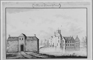 Voor- en rechterzijde van kasteel van Dussen anno 1710