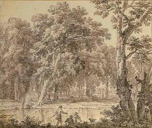 Bosrijk arcadisch landschap met op de voorgrond figuren aan de oever van een rivier, links aan de overkant een piëdestal met daarop een buste
