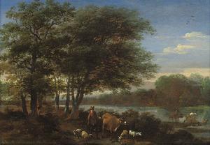 Landschap met herder en zijn dieren bij een bosrand