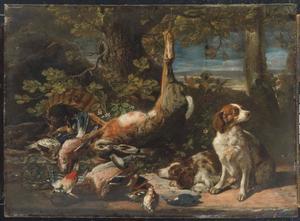 Twee honden bij jachtbuit van een haas en vogels voor rieten mand