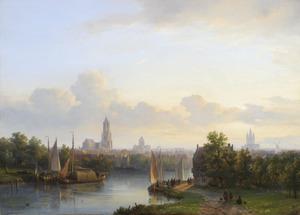 Gezicht op Delft gezien vanaf de Tweemolentjesvaart