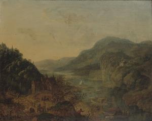 Berglandschap met dorp en boten bij een rivier
