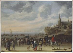Gezicht op het strand bij Scheveningen; aan de horizon een vloot voor anker (mogelijk het voorgenomen maar afgelaste vertrek van Charles II in de zomer van 1659)