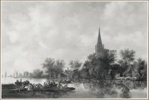 Rivierlandschap met veerpont bij een dorp