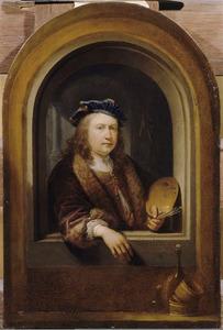 Zelfportret met palet in een nis