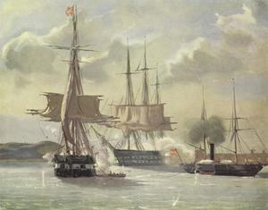 Scene uit de zeeslag bij Eckernførde