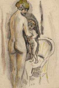 Staande moeder met kind