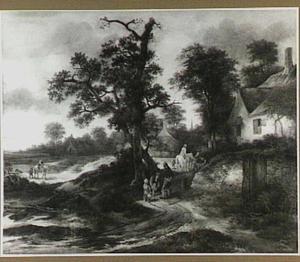 Landschap met boeren en reizigers op een weg langs enkele boerderijen