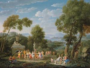 Weids zuidelijk landschap met bacchanten dansend rond een beeld van Silenus