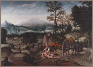 Landschap met de Barmhartige Samaritaan, die de gewonde reiziger verzorgt  (Lukas 10:25-37)