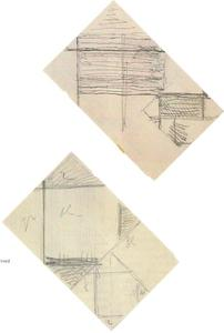 Sketch of two lozenge compositions / verso: sketch of two fragments of lozenge compositions