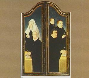 Portretten van twee vrouwelijke en drie mannelijke stichters
