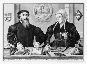 Dubbelportret van Gijsbert van Scharlaken (1519-1563) en Adriana van Slingelandt (....-1606)